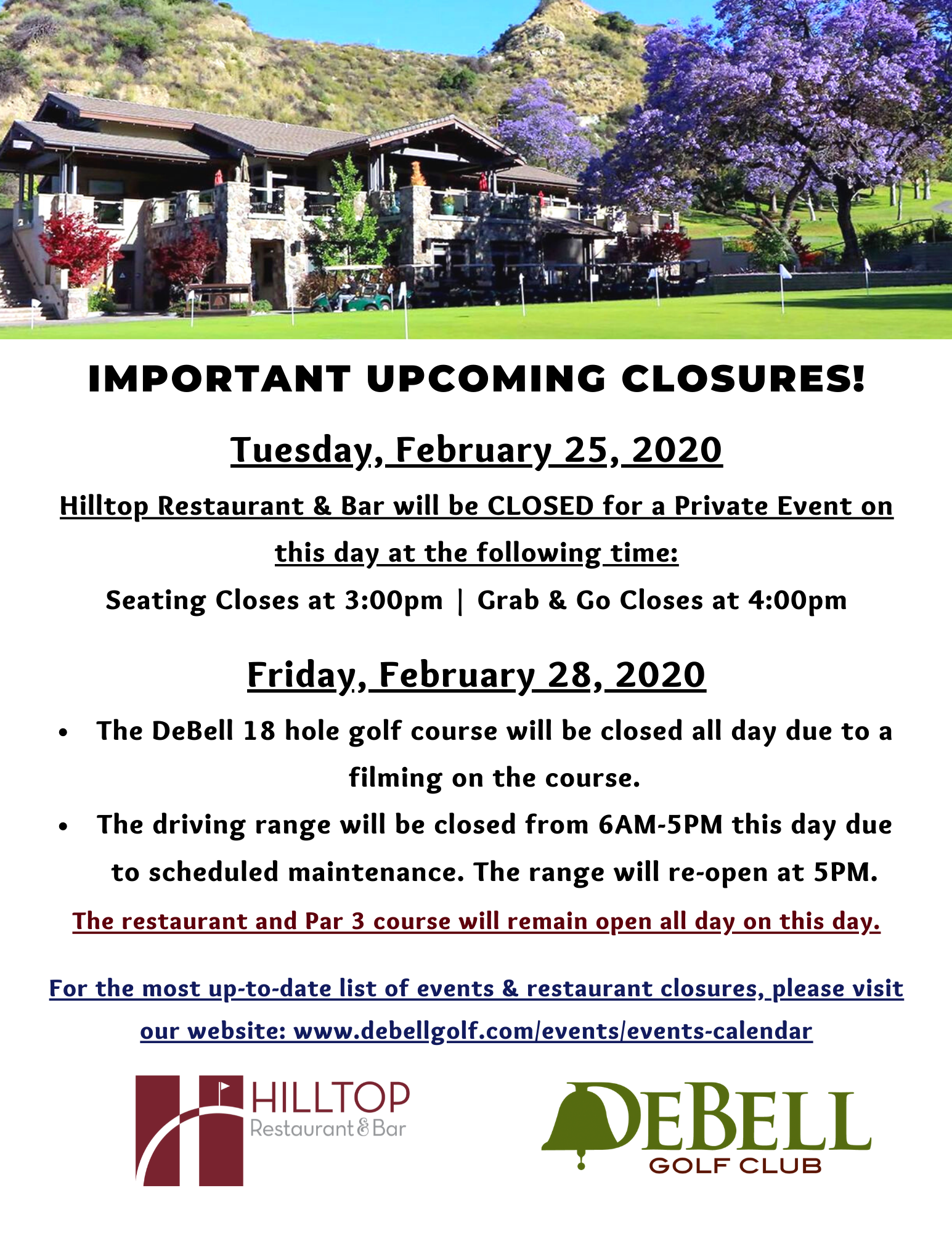 February 2020 Closures updated